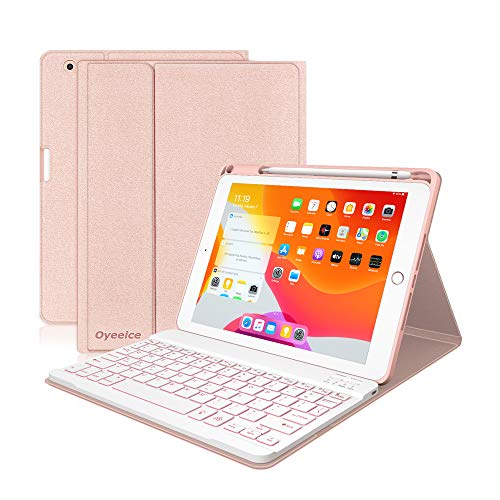 iPad Keyboard Case 9.7 6th Gen 2018 for iPad 5th Gen 2017/Air 2-7 Colors Backlit Detachable Wireless BT Keyboard - Protective Release Heat Cover with Pencil Holder - Auto-Sleep/Wake (Pink)