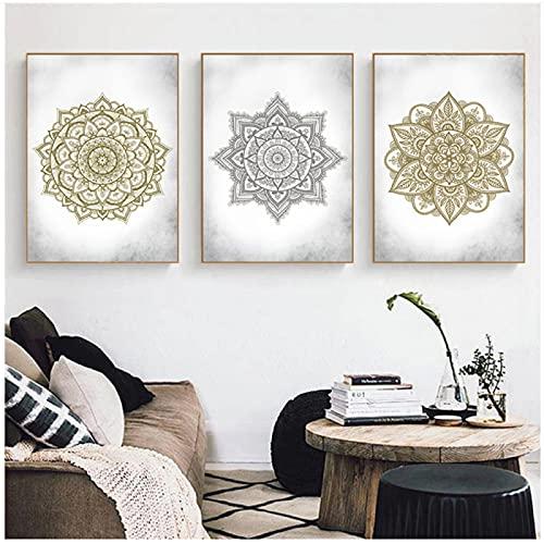 Carteles de lienzo con mandala dorados, pintura floral en la pared, Yoga, Spa, decoración bohemia para el hogar, imágenes