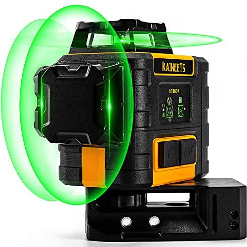 Kreuzlinienlaser Grün 3x360°, Linienlaser KAIWEETS KT360A selbstnivellierender Laser Nivelliergerät, manueller Modus ab 4°(Blinkmodus), Arbeitsbereich: 30m (60m mit Empfänger), lange Arbeitszeit