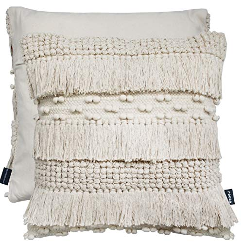 Cushion Cover Luxury Thick Wool Textured Nordic Knit Tassel Pom Pom 100% Cotton Plain Back Zen 17' x 17' (43 cm x 43 cm) (Cream PomPom)