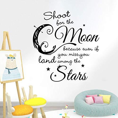 TAOYUE Cartoon Moon Stars muursticker voor kinderen babykamer hoofddecoratie muurtattoos kunst Engels alfabet sticker behang