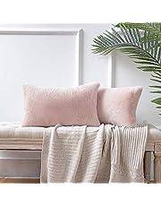 Ashler Ultra Soft Throw Pillows Faux Rabbit Fur Pack of 2 Decorative Pillow Cushion Cover 18 x 18 inches 45cm x 45cm