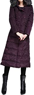 XICHENGSHIDAI Women's Thickened Hooded Double-Breasted Slim Long Down Jacket with Faux Fur Trimmed Hood