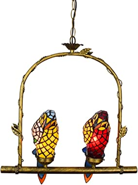 Tiffany Bird Retro American Country Rustic Stained Glass for Parrot Chandelier Living Room Dining Room Balcony 17 Inch Beauti