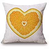 Eliuji Fruit Heart Pattern Blend Square Toss Funda de Almohada Funda de cojín Funda de Almohada con Cierre de Cremallera Oculta 45x45cm