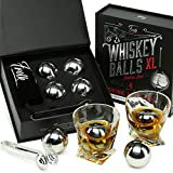 Whiskey Stones Gift Set for Men & Women -4 XL Stainless Steel Whisky Ice Balls, Special Tongs & Freezer Pouch in Luxury Gift Box. Best Man Gift for Whiskey Lovers!