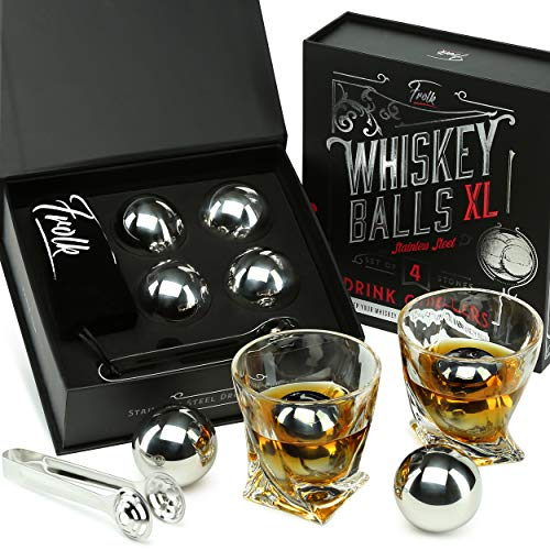 Whiskey Stones Gift Set for Men & Women -4 XL Stainless Steel Whisky Ice Balls, Special Tongs &...