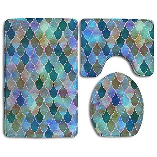Dor675ser Bath Decor, Bath Rugs, Sparkling Blue Mermaid Fish Scales Soft Non-Slip Bathroom Rug Mats Set 3 stuks anti-mees