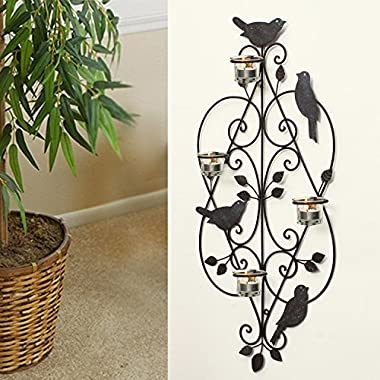 Asense Decorative Black Antique Iron Tea Light Candle Sconce with Birds (Holds 4 Tea Light Candles)