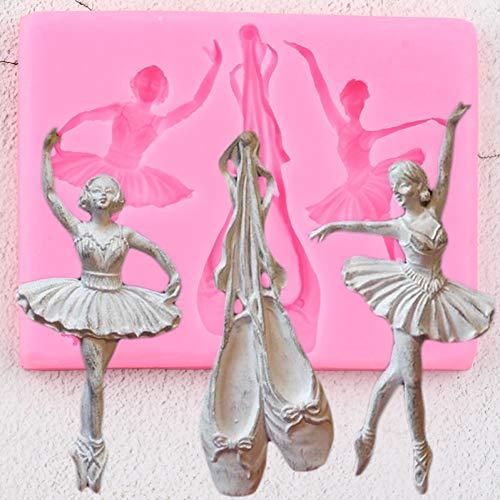 QMGLBG 3D Ballett Schuhe Silikonformen Tänzer Cupcake Topper Fondant Baby Geburtstagstorte Dekorationswerkzeuge Candy Chocolate Gumpaste Formen
