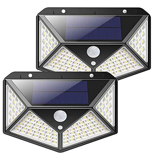 センサーライト 屋外 LED ソーラー 2個セット 人感 太陽光 防雨 防水 100LED 爆光 広範囲 センサー 広範囲 照射 防犯 照明 玄関