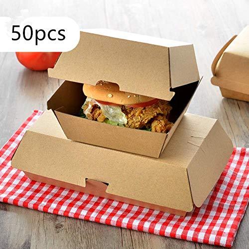POMU 50 stks Hamburger verpakking doos kraft papier zuivere kleur bakken heerlijke brood papier doos picknick partij voedsel wegwerpbaar