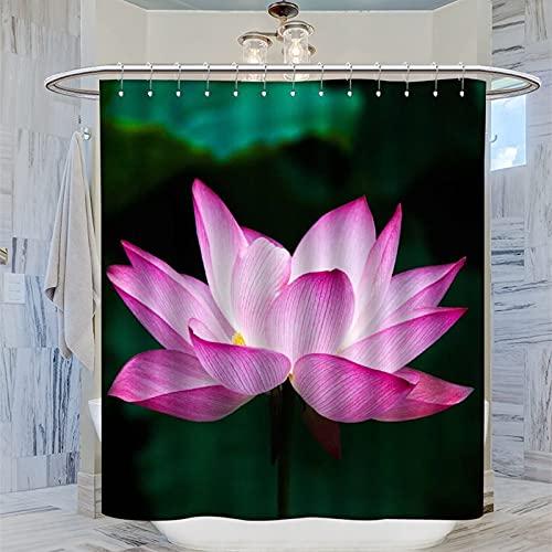 Cortina de ducha de 183 x 200 cm, cortina de baño de flor de loto, cortina de baño de tela de poliéster con 12 ganchos para bañeras de inodoro