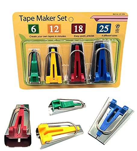 LNKA Bias Tape Maker 4 Size 6MM 12MM 18MM 25MM for Fabric Sewing and Quilting
