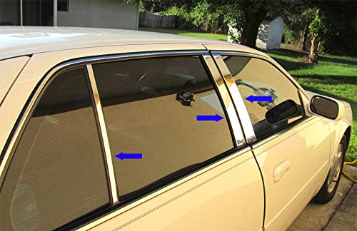 Made in USA! Compatible with 2000-2005 Cadillac Deville 6 PC Stainless Steel Chrome Pillar Post Trim
