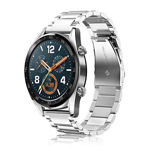 FINTIE Correa Compatible con Huawei Watch GT 2/Huawei Watch GT 46mm Sport/Classic/Active/Elite - Pulsera de Repuesto de Acero Inoxidable Banda Ajustable de Metal, Plateado