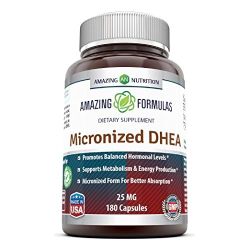 Amazing Formulas Micronized DHEA Dietary Supplement - 25mg Pure - 180 Capsules Per Bottle - Dehydroepiandrosterone Vitamin Capsules for Men & Women