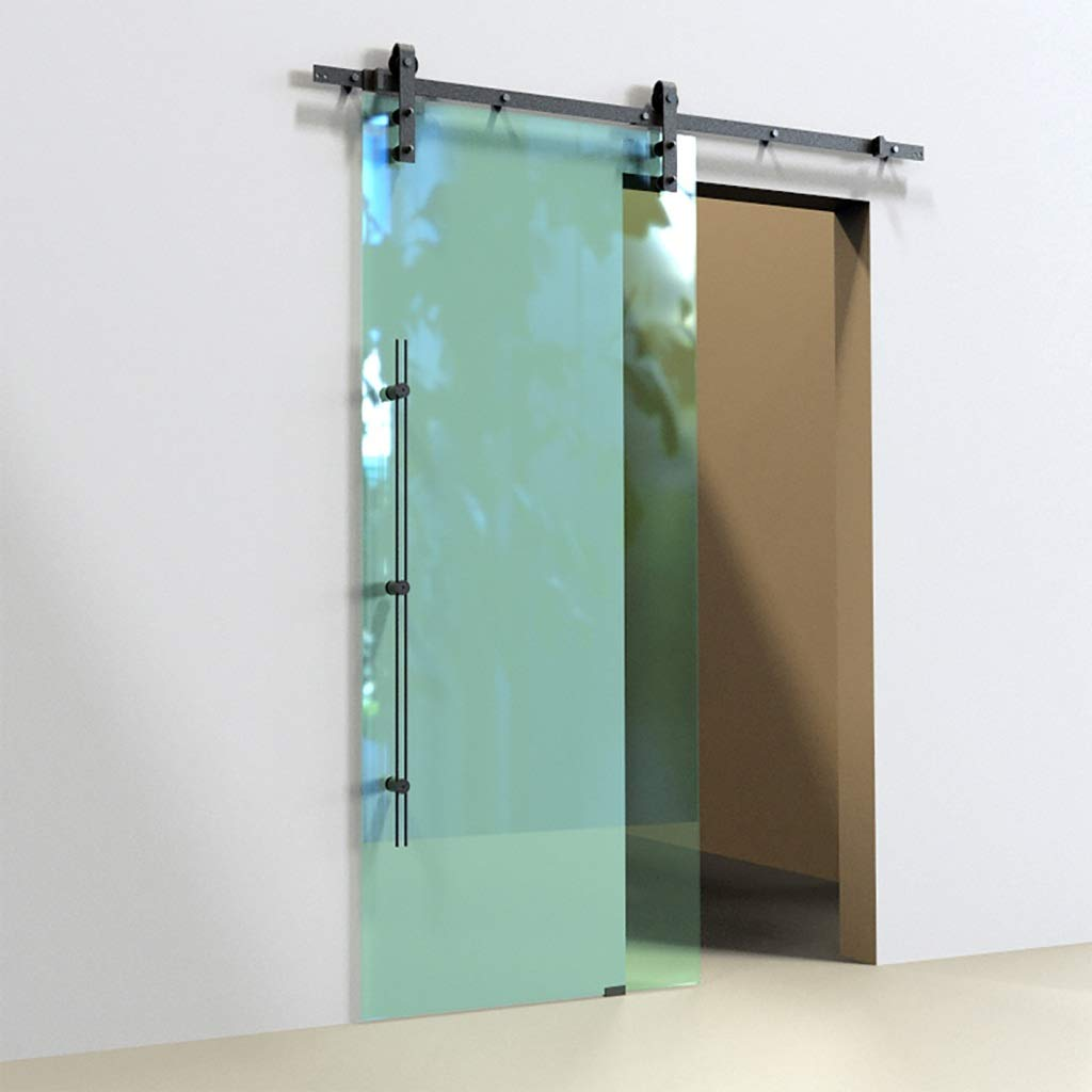 Herraje para Puerta Corredera Kit 5ft-16.4ft puerta de vidrio Slient barra de colgar - Kit de hardware completa, Deslizar la puerta de granero barra de parada Polea Pista de WC / cocina /