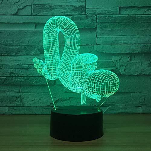 Lámpara de ilusión 3D con forma de animal para niños, niñas, regalo, luz de noche 3D para dormitorio junto a la mesa, lámpara de estado de ánimo de 16 colores cambiantes, lámpara de mesa de escri