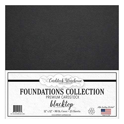 Blacktop 100% Recycled Cardstock Paper - 12 x 12 inch Premium 80 lb. Cover from - 25 Sheets from Cardstock Warehouse