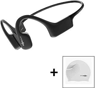 AfterShokz Xtrainerz Open-Ear MP3 Bone Conduction Wireless Sport Headphones, Waterproof for Lap Swimming and Watersports, Black Diamond with Swim Cap