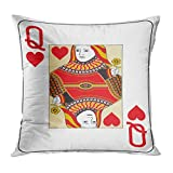 Ajckly Vintage Pillow Case, Jumbo Index Queen of Hearts Playing Flower Throw Pillow Cover, Soft Print Cushion Cover Decor Pillowcase for Sofa Bed Car Chair, 20x20 Inch