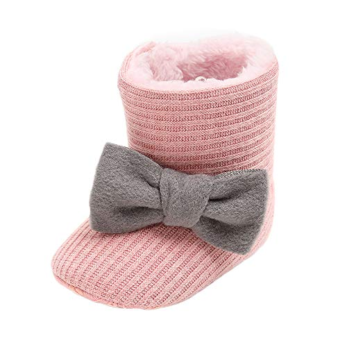 Baby Girl Plush Winter Snow Boots Bowknot Anti Slip Warm Infant Boots Toddler Prewalkers (6-12 Months Infant, 1-Brown)