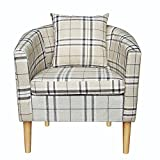 Panana Premium Solid Tartan Grid Fabric Tub Chair Armchair Dining Living Room Office Reception With Pillow