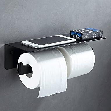 APL Double Toilet Paper Holder, SUS304 Stainless Steel Bathroom Paper Tissue Holder with Mobile Phone Storage Shelf Rack (Matte Black)
