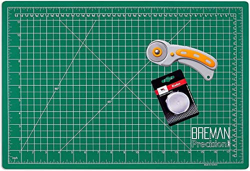 WA Portman Rotary Cutter and 12x18 Inch Self Healing Cutting Mat - Comfort Grip Rotary Cutter and Mat Set - 45mm Rotary Fabric Cutter Set with 5 Extra Blades - Rotary Cutter Set for Crafting and More