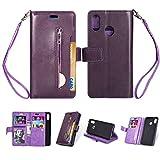 Artfeel Hülle für Huawei P20 Lite Flip Brieftasche Hülle Lila mit 9 Kartenfächer,Premium Leder Magnetisch Stand Handyhülle mit Reißverschluss Tasche und Handschlaufe Schutzhülle