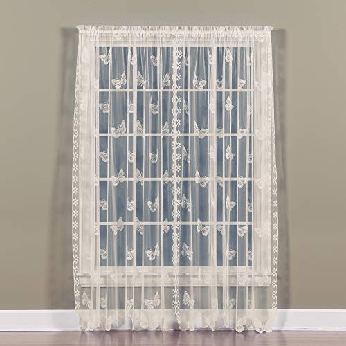 """SKL Home by Saturday Knight Ltd. Butterfly Lace Panel, 56"""" x 63"""" Panel, Ivory"""