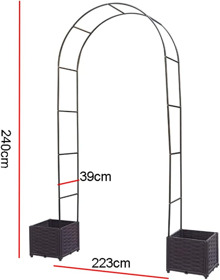 Garden Metal Arch Black Weatherproof Climbers Support Trellises ZYY@ Rose Arch with Planters Outdoor Decor