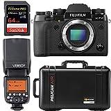 FUJIFILM X-T2 Mirrorless Digital Camera (Body Only) + Pelican Case with Dividers + Godox Speedlite Flash + 64GB Pro Memory Card | Professional Photographer Bundle