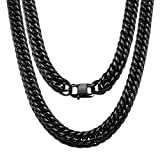 Jewelry Kingdom 1 Cuban Link Chain Necklace for Men and Women 16MM Black High Polish Stainless Steel Double Curb Chain Franco Cuban Link (16MM, 24')