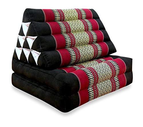 livasia Kapok Thaikissen 2Aufl, Entspannungskissen, Yogakissen, Bodenkissen, Dreieckskissen (schwarz/rot)