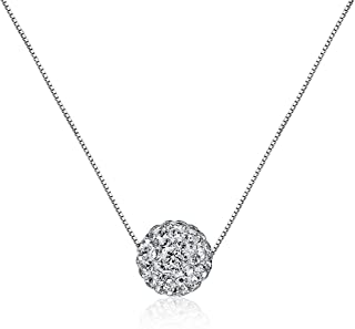 CIShop S925 Sterling Silver Chain Full Diamond Crystal Ball Sparkle Colla Pendant Necklace for Women