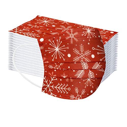 RUITOTP Kind 10/50pc Gesicht Beschützer Einweg Mode atmungsaktive Schneeflocke Print Bandanas für Junge Mädchen