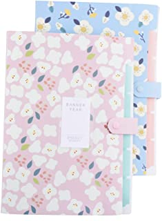 EWONICE 2 Pack Floral Printed Accordion Document A4 Size File Folder Expanding Letter Organizer for School and Office