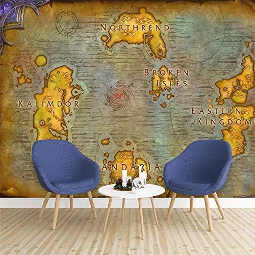 Fototapete 3D Effekt Tapete Selbstklebend 3D Tapete Schlafzimmer Europäische Alte Karte Online-Spiel World Of Warcraft Karte 3D Tapeten 3D Effekt Wohnzimmer Wandtapete Poster Bilder