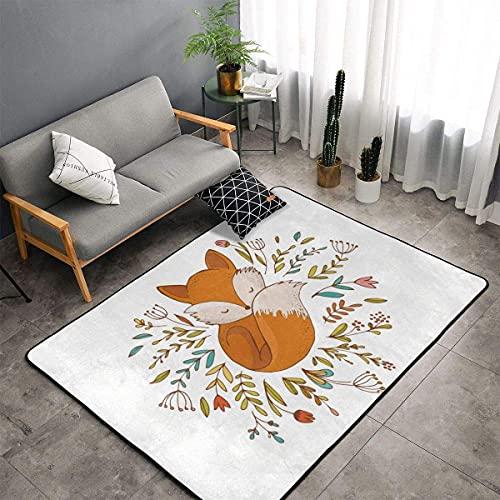 Tapis de cuisine motif renard endormi dans un lit fait à motif floral - Tapis de sol pour chambre d