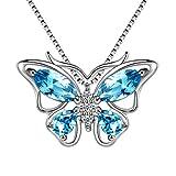 Aurora Tears Collar de Plata esterlina Suizo, Azul Cielo, topacio, Mariposa DP0013S