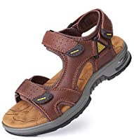 [SOARHOPE] スポーツサンダル メンズ サンダル アウトドア サンダル 本革 スポーツストラップサンダル エアークッション ビーチサンダル ベルクロ 軽量 夏 人気 おしゃれ 低反発 痛くない お洒落 職場 海辺 街履き 靴下 歩きやすい クール