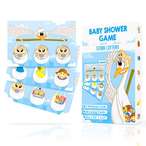 Baby Shower Games, Baby Shower Scratch Off Game - Stork Lottery Ticket Raffle Cards, 2 Winners - Gender Neutral, Boy, Girl - Funny Activity for Diaper Raffles, Ice Breakers, Door Prizes for Any Decorations