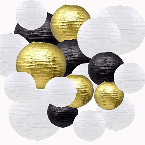 Sonnis Paper Lanterns 12' 10' 8' 6' Round Lanterns Chinese/Japanese Paper Hanging Decorations Ball Lanterns Lamps for Birthday Wedding Baby Showers Party Decorations (18pack,Black, Gold, White)