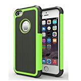 AGRIGLE AB669653 Shock- Absorption/High Impact Resistant Hybrid Dual Layer Armor Defender Full Body Protective Cover Case for iPhone 5/5S/SE (Green)