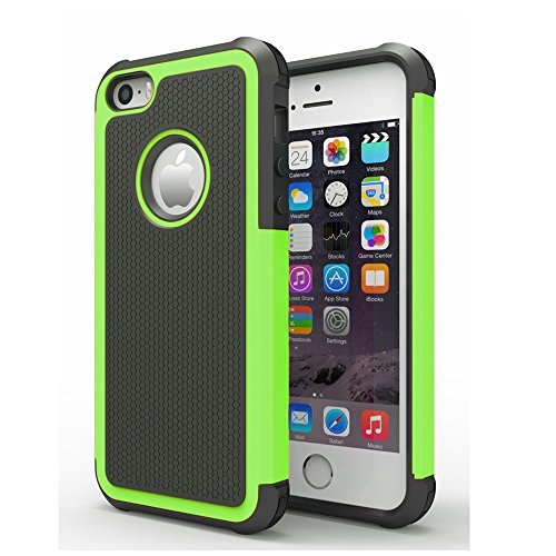 AGRIGLE Shock- Absorption/High Impact Resistant Hybrid Dual Layer Armor Defender Full Body Protective Cover Case for iPhone 5/5S (Green)