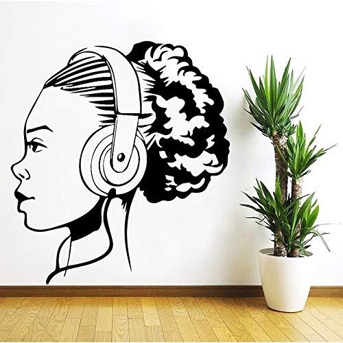 Mode Musikalischer Kopfhörer Mädchen Wandaufkleber Musik Tanz Studio Schlafzimmer Wohnkultur Wohnzimmer Vinyl Aufkleber Kunst Wandbild Poster