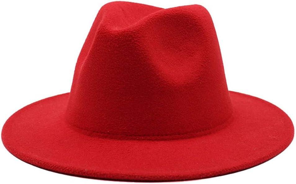 LHZUS Hats Elegant Patchwork Felt Hat Ladies Men Wide Brim Cotton Jazz Fedora Hat Panama Trilby Hat Adult Hat Gambler Hat (Color : 1, Size : 56-58cm)