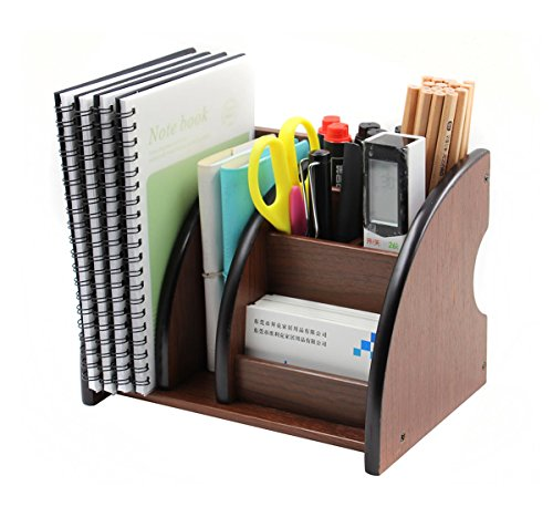 PAG Office Supplies Wood Desk Organizer Mail Pen Holder Accessories Storage Caddy, 6 Compartments, Brown